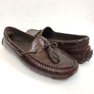 Cole Haan Driving Mocs Brown Croc Loafers 8.5